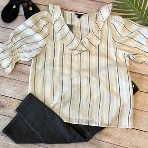 NWT Ann Taylor MP top gray/off white/gold